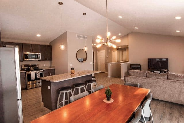 Vinyl Plank Flooring in Living Room & Kitchen