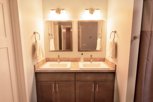 Full Bathroom Vanity replacement with dual sinks, mirrors, & lights
