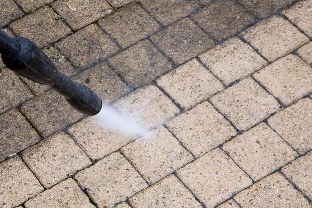 Power Washing Patio Block Sidewalk Path