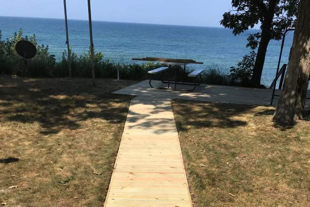 Wood Deck Pathway on Lake Michigan