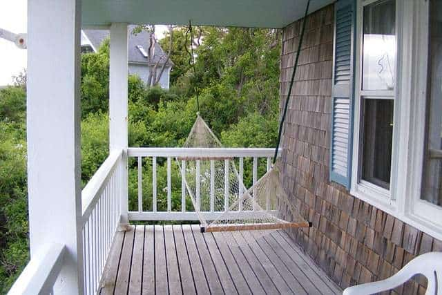 Wood Deck Patio with Porch Swing